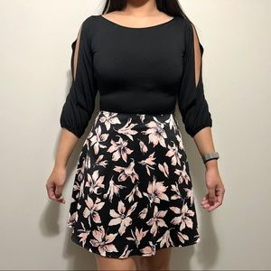 Madewell Black and Pink Floral A-Line Skirt Sz 0